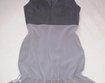 Sleeveless tunic-dress M size gray office dress