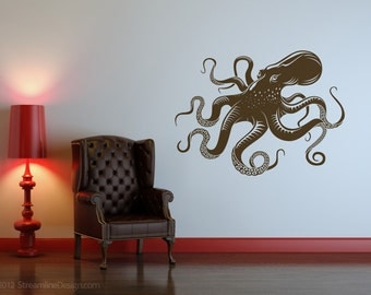 Yet Another Giant Octopus Removable Vinyl Wall Art, nautical tentacles sea creatures ocean animals octopus wall art big octopus wall sticker