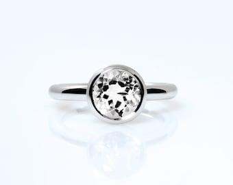 White topaz ring, white gold, engagement ring, bezel, solitaire, topaz engagement, white topaz, clear, nickel free, white gemstone, custom