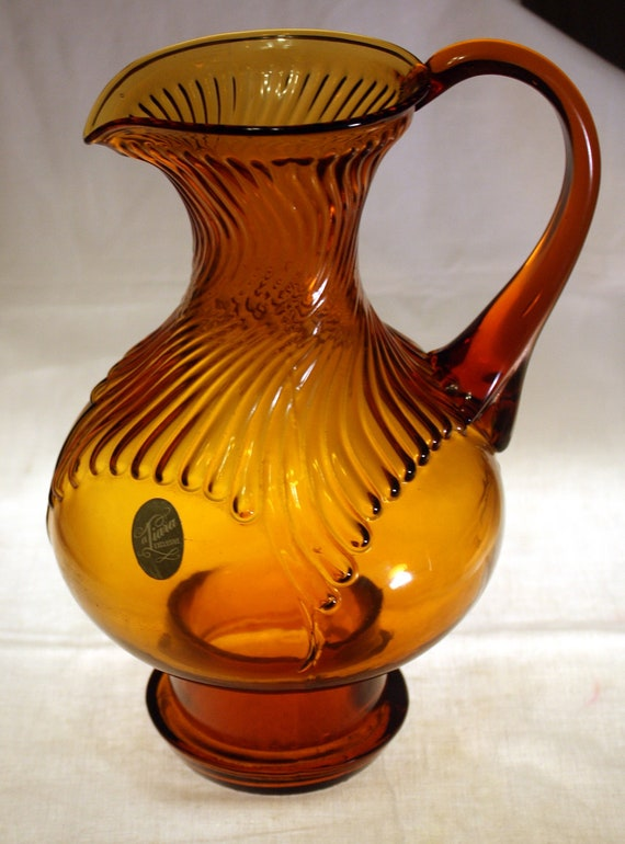 Indiana Glass Tiara Exclusives Amber Hurricane Pitcher or Vase