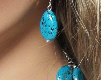 Turquoise Gold Silver Black Speckled Teardrop Earrings