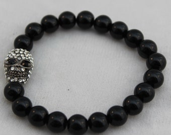 Crystal Rhinestone Skull Black Onyx Beaded Stretch Bracelet