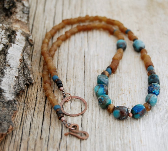 yoga jewelry - chrysocolla, tiger's eye - beaded necklace