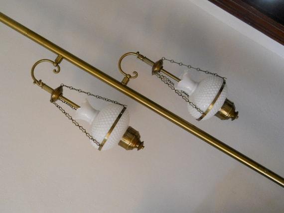 Vtg 1970s lighting hobnail glass tension by for Depression glass floor lamp