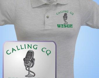 HAM RADIO Shirt  - Custom EMBROIDERED with Old Style  Mic Logo & Callsign - Unisex Sizes  E4