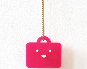 Necklace, Suitcase, Smile, pink
