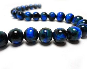 25 Blue Beads 8mm Glass Beads Round Mottled Marbled Blue Earth Swirl, B1033
