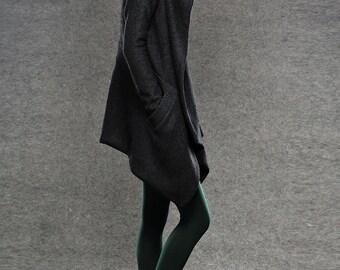 Pea Coat, winter coat asymmetric hooded, hooded wrap coat, coat, jacket, black winter coat, hooded winter coat, womens pea coat  (C038)