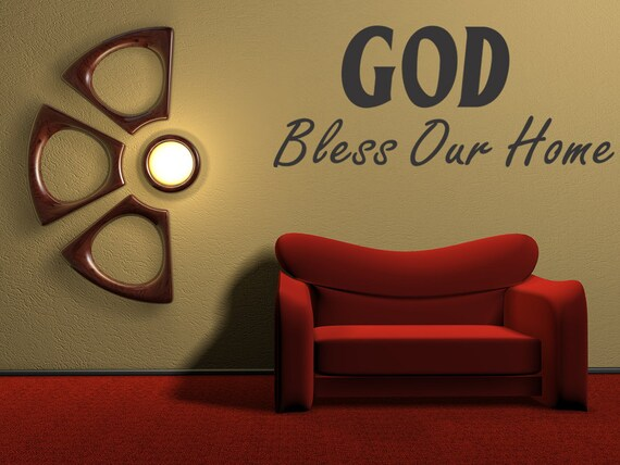 god bless our home wall quote vinyl decal art by. Black Bedroom Furniture Sets. Home Design Ideas