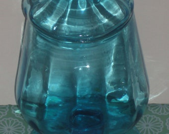 antique blue blown glass covered pedestal display dish