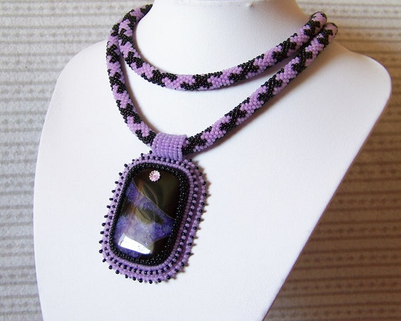Statement Beadwork Bead Embroidery Pendant Necklace with Purple Druzy Agate - MILKY WAY - violet - black