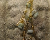 Ear Cuff, Gold Feathers and Amazonite, feathers and natural stones dangle from gold chain, wear on left or right ear non pierced
