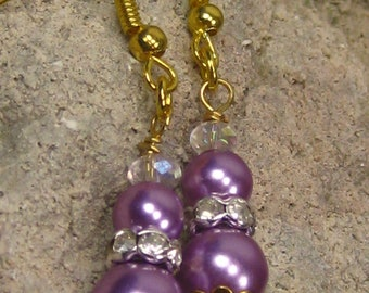 Purple Pearl Crystal Earrings, purple pearls with iridescent crystals on gold wire earrings