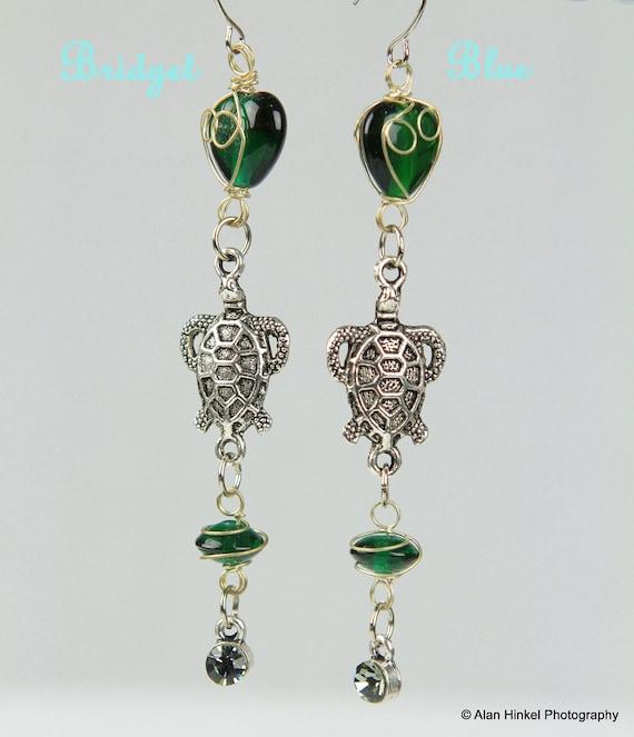 Sea Turtle Earrings with Green Glass by Bridget Blue