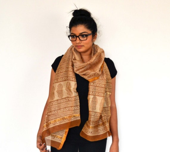 Chanderi SILK Scarf, Golden Goddess  - Hand block printed, Natural Vegetable Dyes, Cotton Silk Blend, Extra Long Scarf, Shawl, Wrap