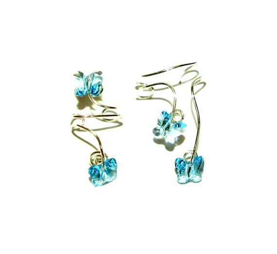 Two STERLING Silver EAR CUFF Light Blue Swarovski Ear Cuff Butterfly Ear Cuff Wedding non pierced  Simple Ear Cuff Clear Earring Studs