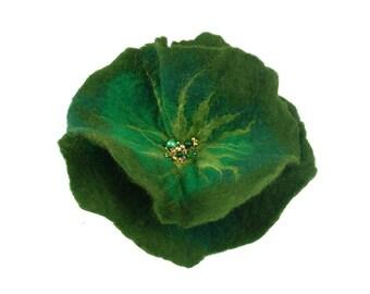 Green Felted Brooch Jade Flower felt nuno nunofelt silk flower folk boho olive wearable art fairy