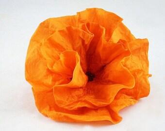 Tangerine Brooch Felt Brooch Silk Flower Nunofelt Brooch Fairy Brooch felt nuno flower nunofelt flower folk boho wool victorian fairy