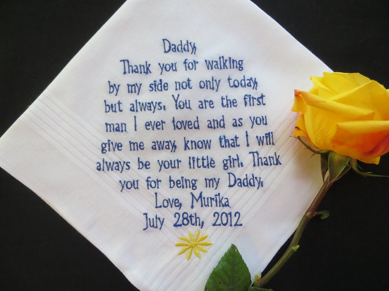 Gift For Dad On Wedding Day Handkerchief : Choose 40 words. Wedding Handkerchief Gift. Fathers