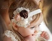 Baby Headband, Lace flower headband, newborn headband, Satin Rosette headband, Baby girl Headbands, toddler headband, Shabby Chic, hair bow