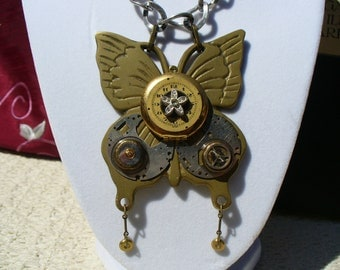 Substantial Brass Butterlfy, Locket & Steampunk Facets