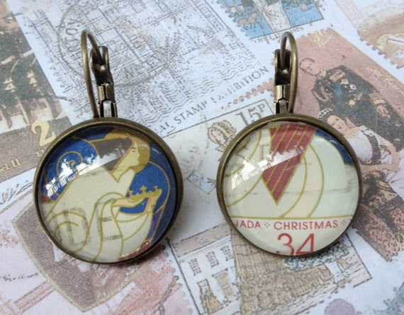 Art Deco Angel One of a Kind Glass Dome Earrings Handmade with a Real Vintage Postage Stamp, 18mm, 18-000012