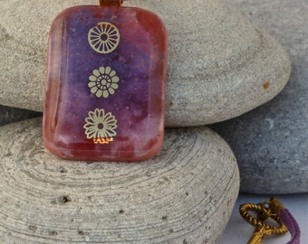 Purple floral fused glass pendant