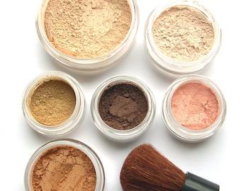 SUMMER GLOW - Makeup Kit Mineral Makeup - Pure Natural Vegan Mineral Set  - Xmas in July