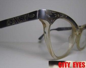 1950s Aluminum Engraved CatEyes vintage optical frames eyeglasses eye glasses sun sunglasses eyewear eye wear cat eye cateye retro 1950s