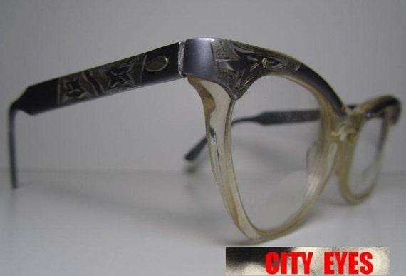 1950s Aluminum Engraved CatEyes vintage optical frames