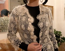 Open Weave Sweater  Lacy w Peplum - Cardigan Style Steam Punk Hand Made Ivory Vintage