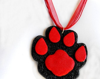 Original Paw Print Necklace - School or Team Spirit, Spiritwear, Back to School - Made to Order in Your Colors