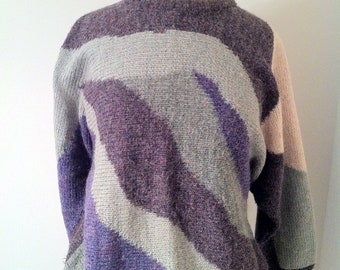 SALE Vintage 1980s Fuzzy Green and Purple Carducci Sweater Size Small Abstract Soft Sweater Funky Retro Blue Purple Green Beige Long Sleeve