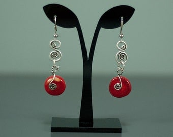 Wire Wrapped Coral Earring, Red Coral Earrings, Wire Wrapped, Silver Earrings,Handmade Jewelry, christmas gift, Lovely gift,