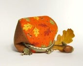 Orange Coin Purse with Oak Leaves, Acorn, Made to order