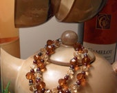 Garnet and amber bracelet with champagne crystals