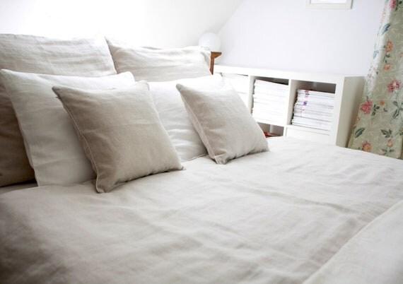 Linen bedding 5 pcs, King  size , Natural  ,prewashed linen,