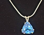 Swiss Blue Topaz Pendant , Large 8mm Trillion, Natural, Set in Sterling Silver   P10