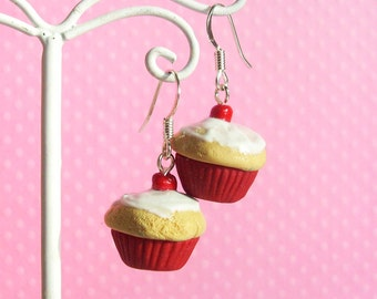 Red Polymer Clay Cupcake Earrings Miniature Food Jewelry for Girls Gifts for Christmas Stocking Stuffers