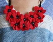Handmade Necklace - Poppy Flower Necklace - Red Necklace- Accessory - Jewelry - Felt Necklace