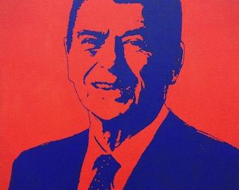 "Ronald Reagan President Portrait Custom Pop Art Painting 16""x20"" Canvas"