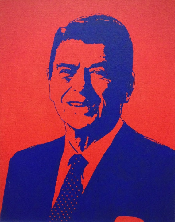 "Ronald Reagan President Portrait Custom Pop Art Painting 16""x20"" Canvas"