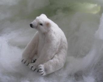 Handmade Needle Felted Animals Wool Arctic Polar Bear