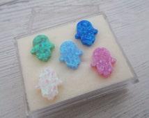 Hamsa opal pendant, Hand of Fatima pendant side hole, 13X11mm Hand of God charm, mixed opal colors to your choice, multi color bead, 1 pcs