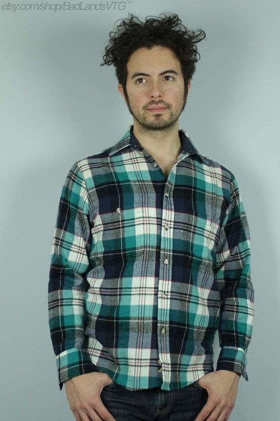 Items similar to 1980s mens teal white black plaid flannel for White flannel shirt mens