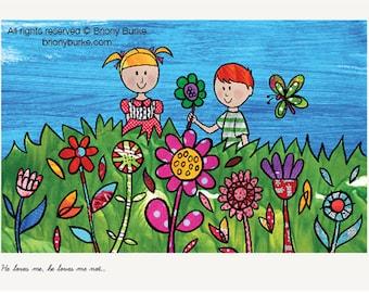 Girl and Boy Illustration - Garden Wall Art - Children's Room Decor - Girls Room - Boys Room - Playroom