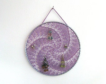 Earring Holder - Purple / Jewelry Organizer / Jewelry Display / Suncatcher / Dreamcatcher