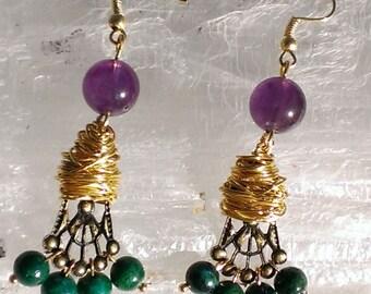 Gold Wire Wrap Purple Jade Stone Chandelier Earrings with Green Jade