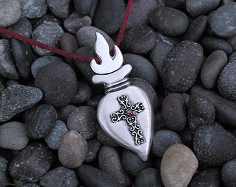 Sacred Heart Sterling Silver With Filigree cross And Genuine Ruby Pendant Necklace Perfect For Christmas Gift