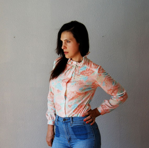 vintage ASCOT bow blouse / 1970s OFFICE button up peach blouse
